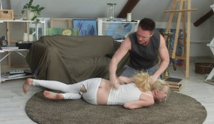 Enthralling blonde allows the dude to poke her as hard as he can