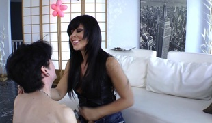 Brooklyn Lee sucks a dude's cock and bonks his ass with a strapon