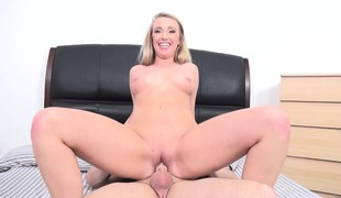 Golden-haired Harley Jade and her bald clam get drilled by a probing cock