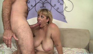 Overweight blond cougar has a juicy peach yearning for a hard pounding