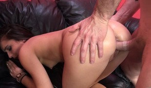 Slender dark brown Karlie Stone takes a long pole for an exciting ride