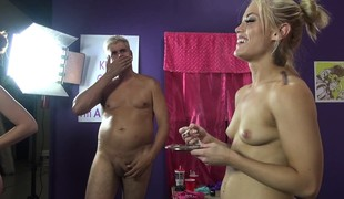 Ash Hollywood share a large vibrator and a hard prick with Farrah Flower