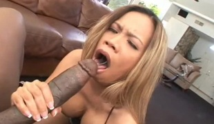 Fake tits dame with hot ass throbbed doggystyle in interracial porn