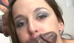 Poppy Morgan looks sexy as hell riding her lover's big black dong