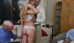 Delightful golden-haired angel Molly Mae fucks lustful grandpas