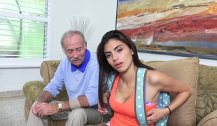 Tanned beauty Michelle Martinez banged by a lustful old fart