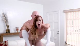 Good looking little princess is worshiping a big cock here