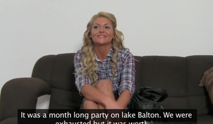 Appealing blonde Becky on her 1st porn casting
