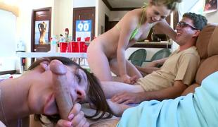 Four hot women invade the dorm room and have fun with the chaps there