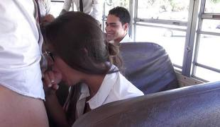 Natalie Monroe hammered unfathomable in the schoolbus