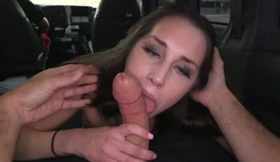 Sexy thing is on the van and she's about to enjoy ride to work. We pick her up and we offer her some money to show us what she can do. blow job.