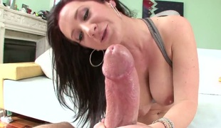 Brunette bitch with biggest tits Jayden Jaymes in foreplay with her fellow