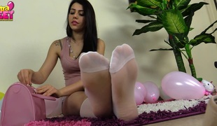 brunette solo fetish nylon foot fetish