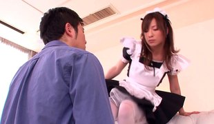 Japanese maid jerks him off and suggests her pussy for fucking
