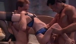 Slut enjoys the feel of two jocks in her fuck holes after BJ
