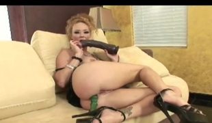 Audrey Hollander double dildo penetration with big toys
