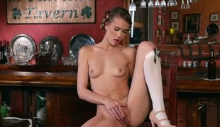Slender beer wench stripping and masturbating in the bar