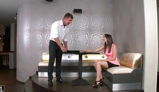 A nice dose of fingering and dicking for Jimena's pleasant snatch