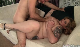 Curvaceous blonde with biggest wobblers surrenders her pussy to a lengthy shaft