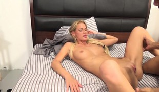 Slim blonde with hawt long legs fucks a black stick and cums hard