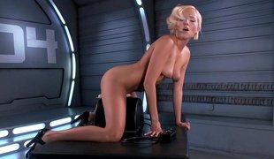 hvit blonde amerikansk vakker onani leketøy solo vibrator maskin doggystyle