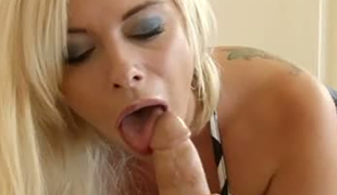 Adorable blond bitch Sara St Clair pleasures her man with stout tit fuck and fellatio