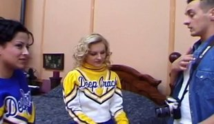 Natural tits cheerleader in miniskirt moans when pounded