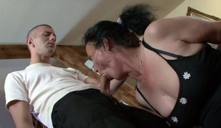 Granny in lace nylons Marianna receives her ruined cunt drilled